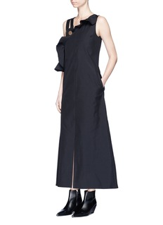 NOHKE Asymmetric strap ruffle trim maxi dress