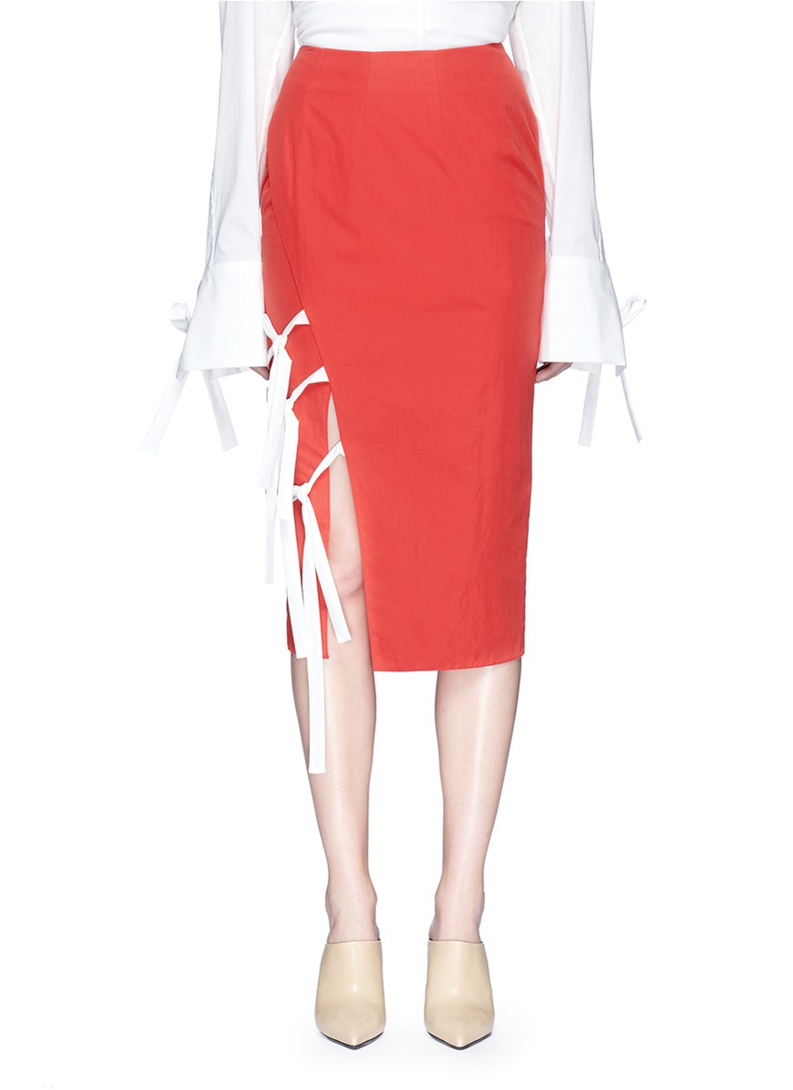 Tie front mock wrap pencil skirt by NOHKE