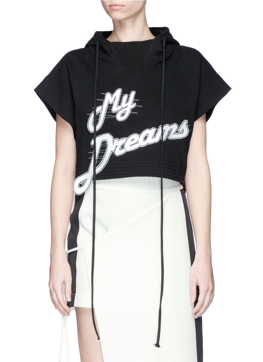 My Dreams slogan appliqué cropped hoodie by CRES. E DIM.