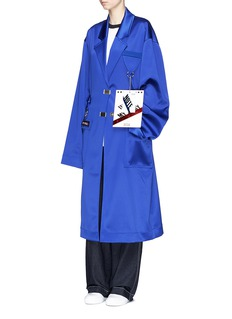 CRES. E DIM.'Dreams' oversized patch satin trench coat
