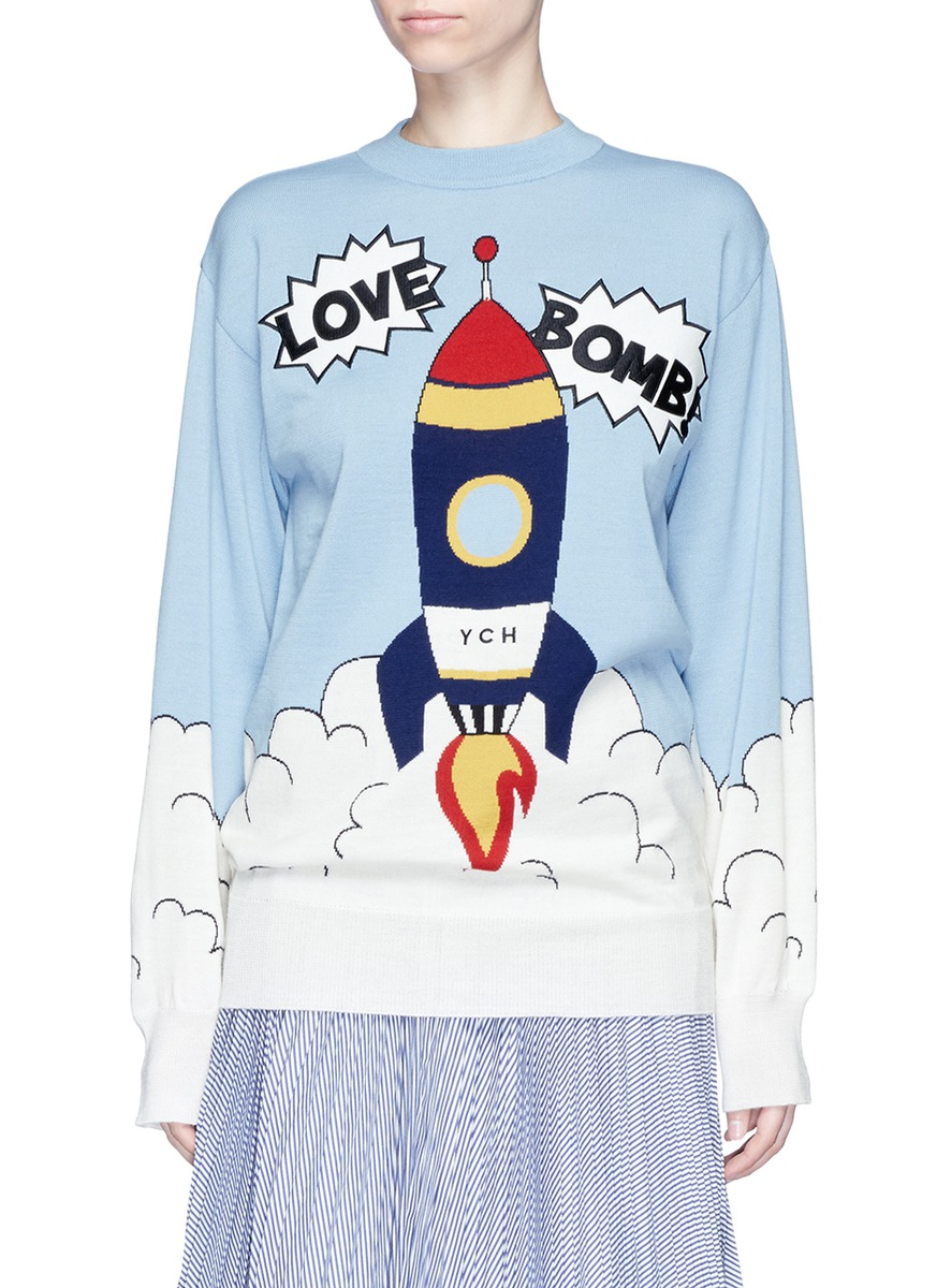 Love Bomb patch rocket intarsia sweater by YCH