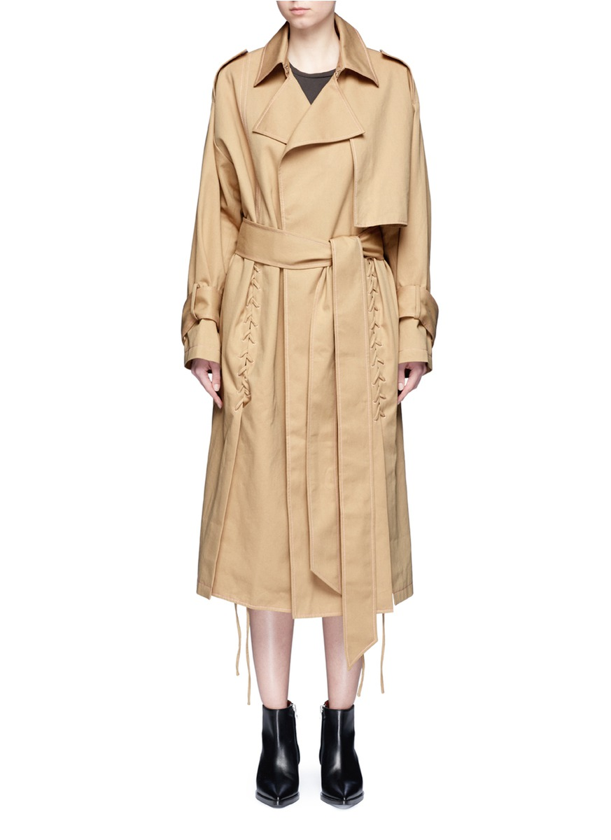 Belted cotton twill lace-up trench coat by YCH
