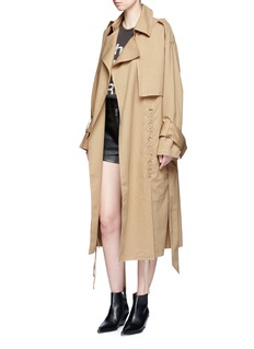 YCH Belted cotton twill lace-up trench coat