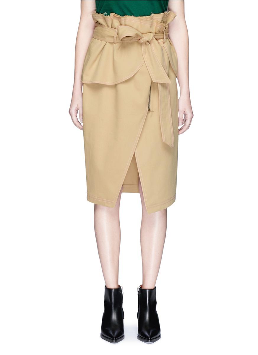 Paperbag waist raw edge wrap skirt by YCH