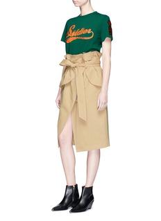 YCHPaperbag waist raw edge wrap skirt