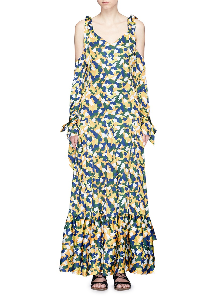 Camouflage print cold shoulder satin maxi dress by YCH