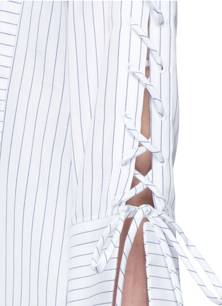 Detail View - Click To Enlarge - YCH - Lace-up sleeve stripe oversized shirt
