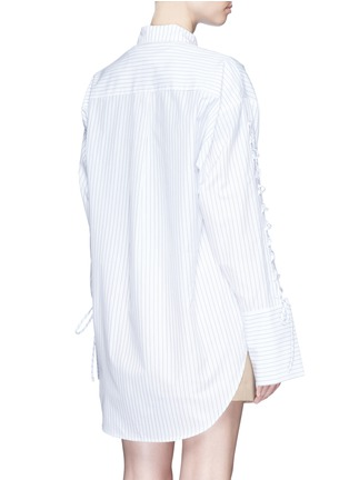 Back View - Click To Enlarge - YCH - Lace-up sleeve stripe oversized shirt