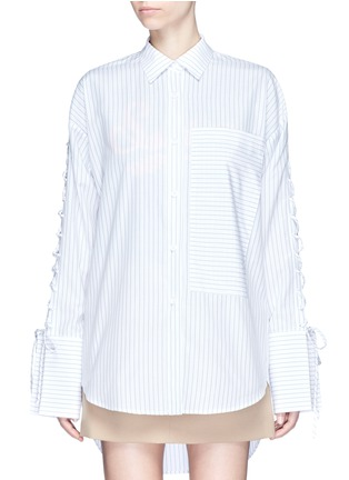 Main View - Click To Enlarge - YCH - Lace-up sleeve stripe oversized shirt