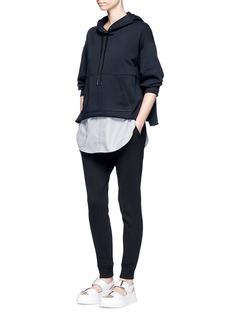 3.1 Phillip LimPinstripe shirttail hem cotton hoodie