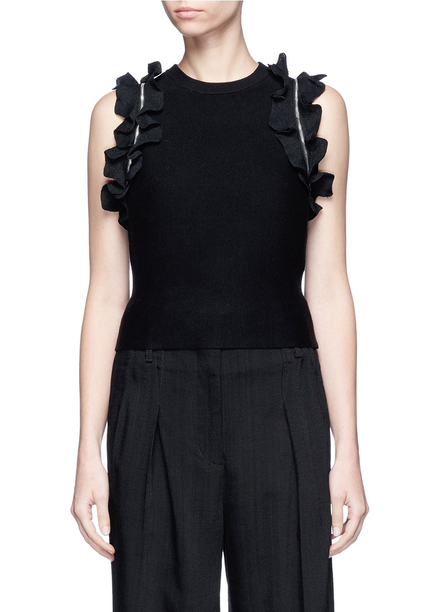 Detachable ruffle sleeve dense knit cropped sweater by 3.1 Phillip Lim