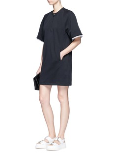 3.1 Phillip Lim Striped poplin cuff French terry tunic