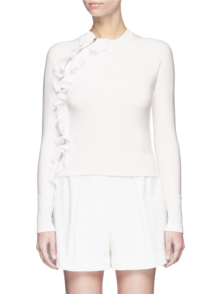 Ruffle zip trim dense knit sweater by 3.1 Phillip Lim