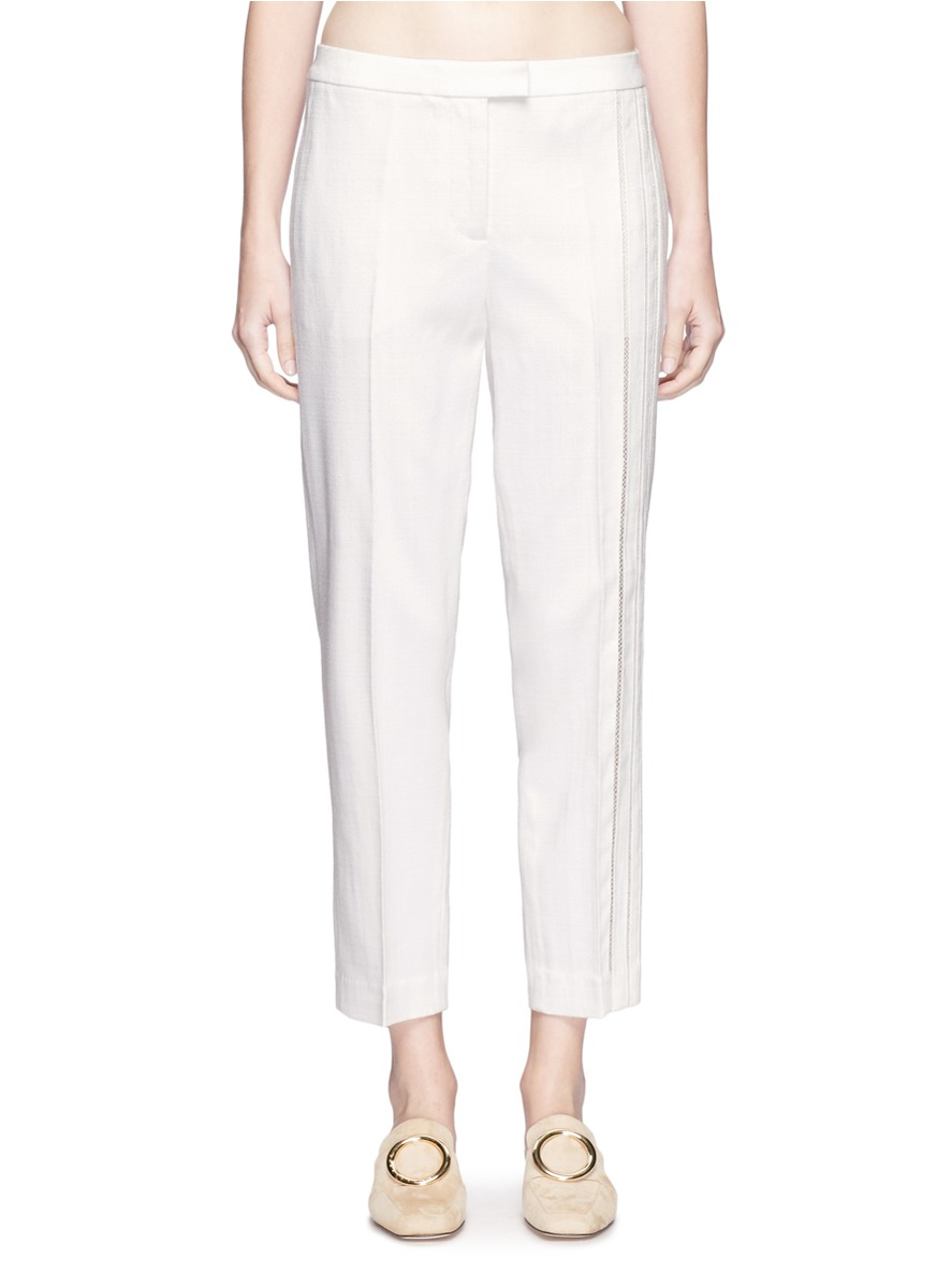 Crochet stripe cropped tailored pants by 3.1 Phillip Lim