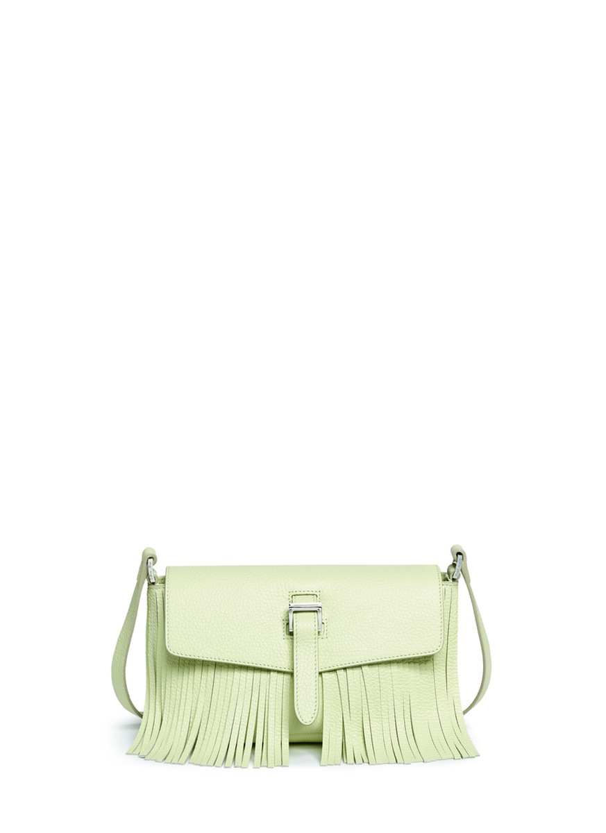 Maisie Micro fringed leather crossbody bag by Meli Melo