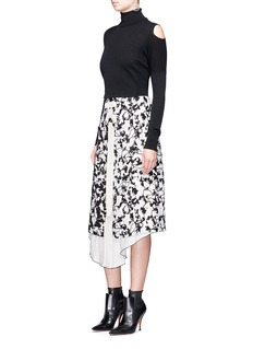 Proenza Schouler Lace-up abstract print A-line skirt