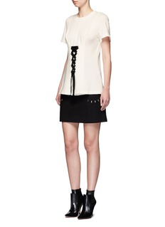 Proenza Schouler Lace-up double-faced wool blend jersey top