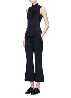 Theory'Eulia' suede front ponte knit top
