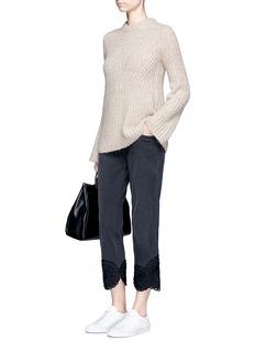 Stella McCartneyFloral ribbon appliqué cropped tomboy jeans
