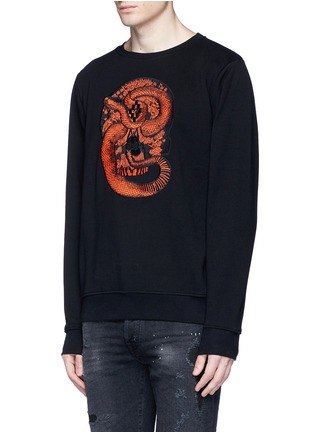 Front View - Click To Enlarge - Marcelo Burlon - 'Bayo' snake embroidery sweatshirt