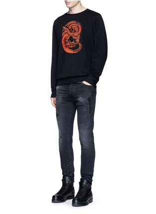 Figure View - Click To Enlarge - Marcelo Burlon - 'Bayo' snake embroidery sweatshirt