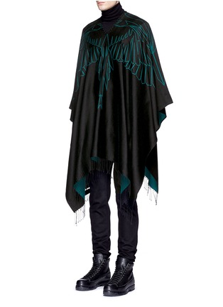 Front View - Click To Enlarge - Marcelo Burlon - 'Aserel' reversible wing jacquard poncho