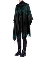 'Aserel' reversible wing jacquard poncho