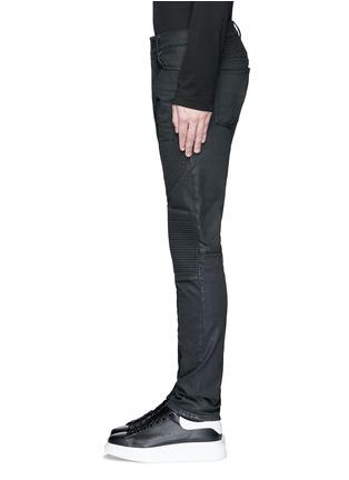 细节 - 点击放大 - MARCELO BURLON - 套染棉质机车款牛仔裤
