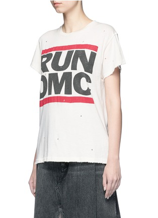 Front View - Click To Enlarge - Madeworn - 'Run DMC' hand distressed slogan T-shirt