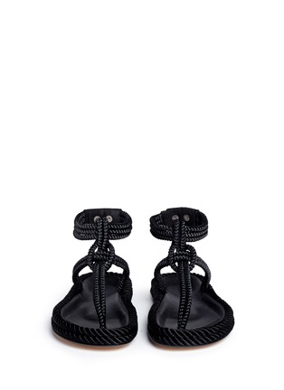 Front View - Click To Enlarge - Isabel Marant - 'Lesley' knotted rope T-strap sandals