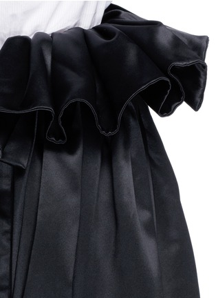 Detail View - Click To Enlarge - Ellery - 'Impact' gathered apron bonded silk satin midi skirt
