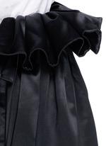 'Impact' gathered apron bonded silk satin midi skirt