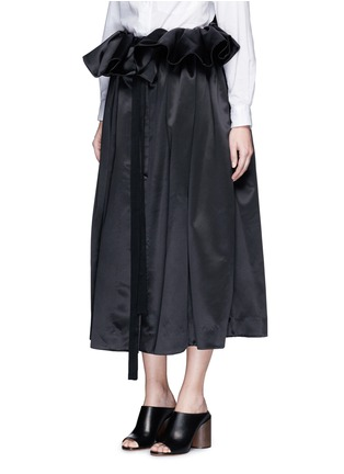 Front View - Click To Enlarge - Ellery - 'Impact' gathered apron bonded silk satin midi skirt