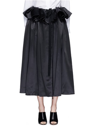 Main View - Click To Enlarge - Ellery - 'Impact' gathered apron bonded silk satin midi skirt
