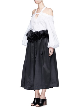 Figure View - Click To Enlarge - Ellery - 'Impact' gathered apron bonded silk satin midi skirt