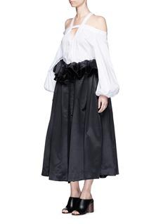 ELLERY'Impact' gathered apron bonded silk satin midi skirt