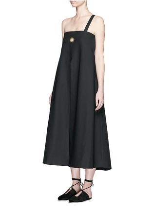 Front View - Click To Enlarge - Ellery - 'Ray' asymmetric strap grommet A-line tunic dress
