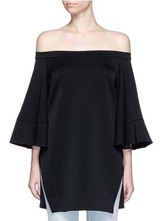 Main View - Click To Enlarge - Ellery - 'Elize' off-shoulder bell sleeve satin crepe top