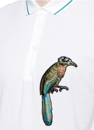 Detail View - Click To Enlarge - Dolce & Gabbana - Bird patch embroidery polo shirt