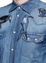 'Gold' bird embroidery denim shirt