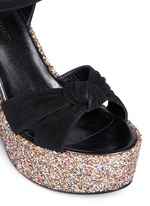 'Candy' suede bow glitter wedge sandals