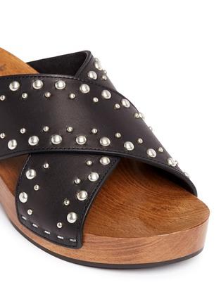 Detail View - Click To Enlarge - Saint Laurent - Stud leather wooden clog mule sandals