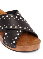 Stud leather wooden clog mule sandals