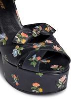 Grunge flower print leather platform sandals