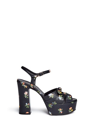 Main View - Click To Enlarge - Saint Laurent - Grunge flower print leather platform sandals