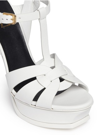 Detail View - Click To Enlarge - SAINT LAURENT - 'Tribute' knot front vegetal leather sandals