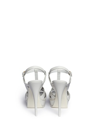 Back View - Click To Enlarge - SAINT LAURENT - 'Tribute' knot front vegetal leather sandals