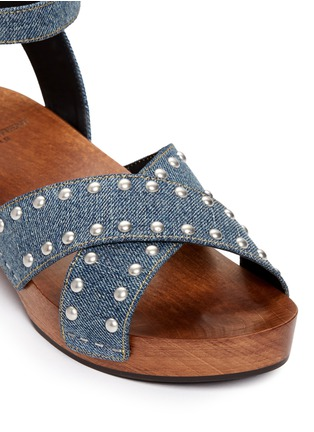 Detail View - Click To Enlarge - SAINT LAURENT - Stud denim wooden clog sandals
