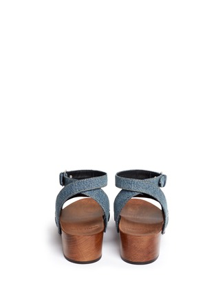 Back View - Click To Enlarge - SAINT LAURENT - Stud denim wooden clog sandals