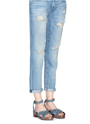 Figure View - Click To Enlarge - SAINT LAURENT - Stud denim wooden clog sandals